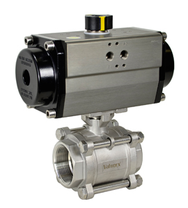 "Air Actuated 3-pc Stainless Ball Valve 1-1/2"" - Double Acting"