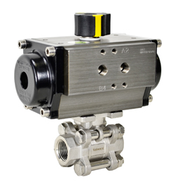 """Air Actuated 3-pc Stainless Ball Valve 1/4"""" - Spring Return"""
