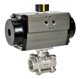 """3/4"""" Air Actuated 3-pc Stainless Ball Valve - Spring Return"""
