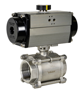 Air Actuated 3-pc Stainless Ball Valve 2-1/2 - Spring Return