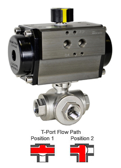 Air Actuated 3-Way SS T-Port Ball Valve 1/2,Double Acting