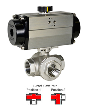 Air Actuated 3-Way SS T-Port Ball Valve 1-1/2,Double Acting
