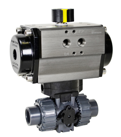 "Air Actuated PVC Ball Valve 1/2"" - Spring Return"