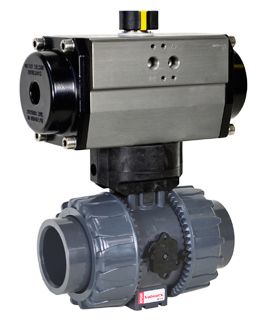 "Air Actuated PVC Ball Valve 1-1/2"" - Spring Return"