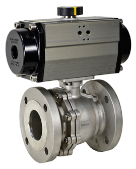 Air Actuated 150# Flanged SS Ball Valve 3- Double Acting