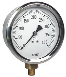 Industrial Pressure Gauge 4, 400 PSI