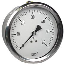 Stainless Steel Pressure Gauge 4, 60 PSI