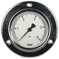 Front Flange Panel Mt Stainless Gauge 2.5, 15 PSI