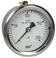 Stainless Pressure Gauge 2.5, 200 PSI, Liquid Filled