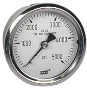 Stainless Pressure Gauge 2.5, 5000 PSI, Liquid Filled
