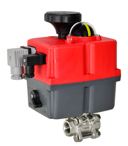 "Electric Actuated 3 pc SS Ball Valve 3/8"", 24-240V AC/DC"