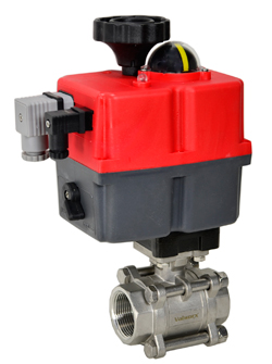 "Electric Actuated 3 pc SS Ball Valve 1-1/4"", 24-240V AC/DC"