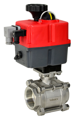 Electric Actuated 3 pc SS Ball Valve 2, 24-240V AC/DC