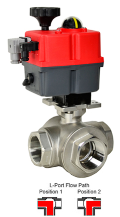 Electric 3-Way Stainless L-Diverter Valve 2, 24-240V AC/DC