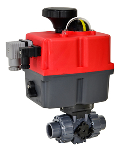 "Electric Actuated Ball Valve PVC/EPDM 1/2"", 24-240V AC/DC"