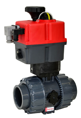 "Electric Actuated Ball Valve PVC/EPDM 1-1/2"", 24-240V AC/DC"
