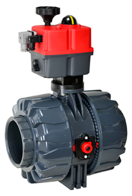 "Electric Actuated Ball Valve PVC/EPDM 4"", 24-240V AC/DC"