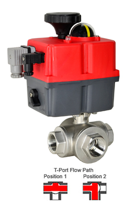 Electric 3-Way Stainless T-Diverter Valve 1, 24-240V AC/DC