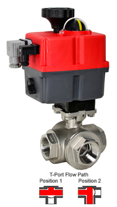 Electric 3-Way Stainless T-Diverter Valve 1-1/2, 24-240V AC/DC