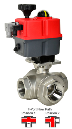 Electric 3-Way Stainless T-Diverter Valve 2, 24-240V AC/DC
