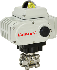 "Electric Actuated 3 pc SS Ball Valve 1/4"", 110 VAC, EPS Positioner"