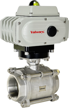 "Electric Actuated 3 pc SS Ball Valve 3"",  110 VAC, EPS Positioner"