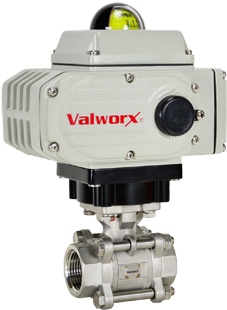 "1-1/4"" Electric Actuated 3 pc SS Ball Valve 24 VDC"