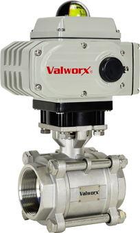 "2-1/2"" Electric Actuated 3 pc SS Ball Valve 24 VDC, EPS Positioner"