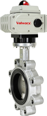 "4"" Electric Actuated Butterfly Valve, Lug, FPM, 110 VAC"
