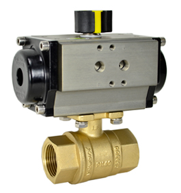 """Air Actuated Lead Free Brass Ball Valve 1-1/4"""" - Double Acting"""