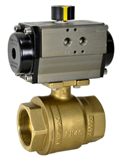 "Air Actuated Lead Free Brass Ball Valve 1-1/2"" - Double Acting"