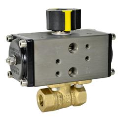 Compact Air Actuated LF Brass Ball Valve 3/8 - Double Acting