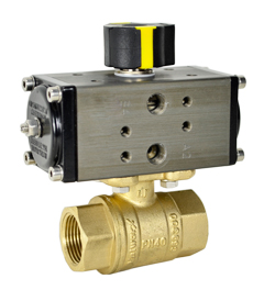 Compact Air Actuated LF Brass Ball Valve 1/2 - Double Acting