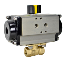 "Air Actuated Lead Free Brass Ball Valve 1/4"" - Spring Return"