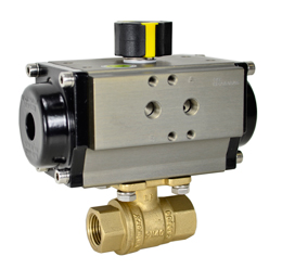 "Air Actuated Lead Free Brass Ball Valve 3/8"" - Spring Return"