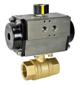 "Air Actuated Lead Free Brass Ball Valve 1-1/4"" - Spring Return"