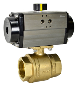 Air Actuated Lead Free Brass Ball Valve 1-1/2 - Spring Return
