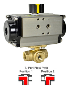 Air Actuated 3-Way Lead Free Brass L-Diverter Valve 1/4, DA