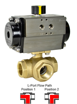 Air Actuated 3-Way Lead Free Brass L-Diverter Valve 1-1/4, DA