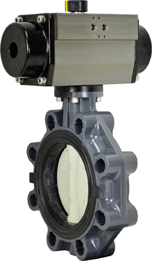 "6"" Air Actuated PVC Butterfly Valve - Double Acting"