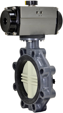 "8"" Air Actuated PVC Butterfly Valve - Spring Return"