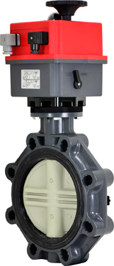 "8"" Electric Actuated PVC Butterfly Valve 24-240V AC/DC"