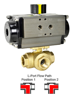Air Actuated 3-Way Lead Free Brass L-Diverter Valve 1/2, SR