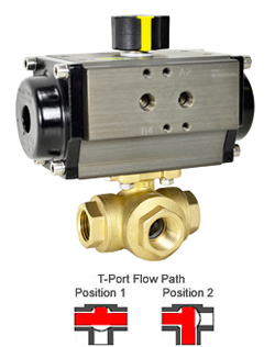 Air Actuated 3-Way Lead Free Brass T-Diverter Valve 3/8, DA