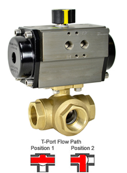 Air Actuated 3-Way Lead Free Brass T-Diverter Valve 1-1/4, DA