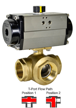 Air Actuated 3-Way Lead Free Brass T-Diverter Valve 1-1/2, DA
