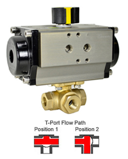 Air Actuated 3-Way Lead Free Brass T-Diverter Valve 1/4, SR