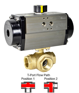 Air Actuated 3-Way Lead Free Brass T-Diverter Valve 1, SR