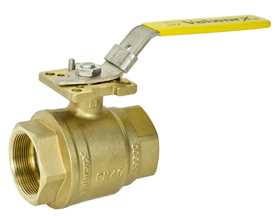 1-1/2 Inch NPT Brass Ball Valve - Direct Mount