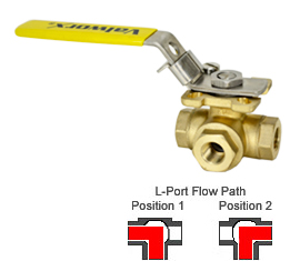 "3-Way Direct Mount Brass Ball Valve L-Full Port 1/4"" NPT"